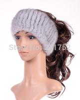 New Genuine Mink Fur headband Nature Knit Mink Fur stripe headgear Free Shipping