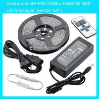Waterproof 5M 90W 7500lm 300x5630 SMD LED Strip Light(White/Warm White/Cold White)  Set (DC 12V )