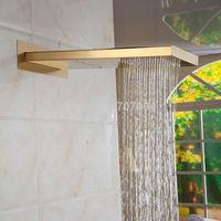 Luxury Sold Brass Big Rainfall Wall Mounted Shower Head Gold-plating Waterfall Rain Shower Head