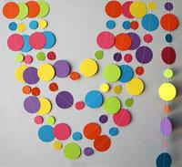 12 FeetsRainbow paper garland, Birthday decorations,   Circle garland, Nursery decor