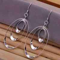 E180 Wholesale ! Wholesale 925 silver earrings, 925 silver fashion jewelry, Triple Round Plate Earrings