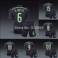 Spain 2014 away black soccer uniforms jersey with short kits Ramos fabregas silva iniesta xavi pedro torres pique diego costa