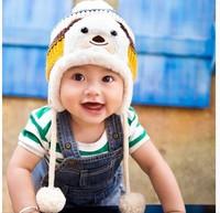 winter baby boy girl hats Baby pandas knitting wool winter hats Han edition children turtleneck cap