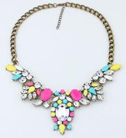2014 Vintage Jewelry Statement Necklace 6 Colors Neon Color Rhinestone Necklaces & pendants Antique Gold Retro Dress Jewelry