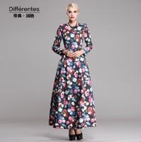 2014 New arrival elegant women's thickening long dress O-neck long sleeve full length dress floral print autumn winter dress