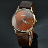 Sinobi Thin Watch Men Brown Leather Strap Quartz Wristwatch With Rhinestone Military Waterproof Wristwatch Relogio Masculino