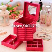 Free shipping Velvet Jewelry Ring/ Bracelet/ Earring /Mini Storage Container Organizer Box Case Holder