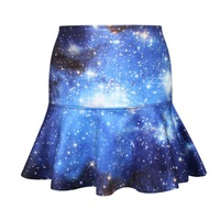 Galaxy Blue High Waisted Skirt Short Circle Skirt Printed Casual Womens Skater Pleated Skirts