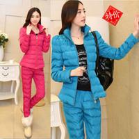 2015 Lace Coat Women Suit Thicken Leisure Sets Down Jacket Slim Winter Women Set Warming Coat Free Shipping A466-90