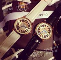 2014 leather strap hollow dial women dress watches high quality women rhinestone watches lady diamond wristwatch full steel