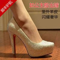 Full genuine leather rhinestone wedding shoes ultra high heels platform female crystal bridal shoes red white