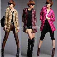 2014 New fashion women thin slim down coat winter warm overcoat streetwear Down & Parkas womens parkas long down coats