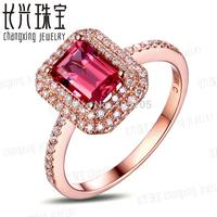 14k Rose Gold 1.27ct Pink Tourmaline & Natural Diamond Engagement Ring Fine Jewelry