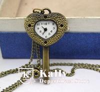 New hot selling cartoon love locks pocket watch retro pocket watch necklace
