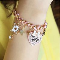 Bracelets & Bangles Letters heart-shaped card bowknot diamond bracelet 2014 new brand CB043