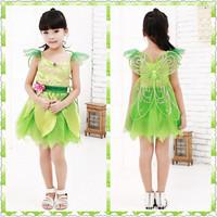 Retail+New 2014 Children girl dress, magic fairy princess dress,halloween costume,Chirstmas clothing,Light green color.