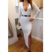 2015 New Fashion Women's Prom Dresses Sexy Slim V-Neck Long Sleeve Maxi Dress White Slit Bandage Vestidos to Party With Belt