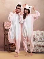 Free Shipping Animal Romper Mens Ladies Fleece Suits Onsie Fancy Dress Costume Onesie Pajamas * Pink&Gray Hippo