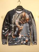2014 New Design Men/women 3D Animal Printed  HARAJUKU Sweater Hoodies Long Sleeve Pullover Sweatshirts Tops Clothing Plus Size