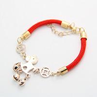 Pony accessories golden red rope bracelet Bracelets & Bangles CB048