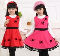 New Autumn Winter Girls vest dress Kids Lace dresses  Baby Sleeveless party dress Free Shipping