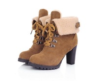 2014 Fashion Lady Women Shoes Winter Warm Synthetic Suede High Heel Lace-up Round Toe Shoes Ankle Boots US4-12