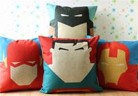 Superman, Batman,Iron Man, Linen Cotton Cushion Cover / Pillow Cover / Decorative Pillow Sofa Cushion /throw PillowFree Shipping