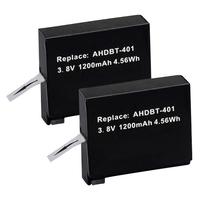 2x AHDBT-401 AHDBT401 Battery Pack For Gopro Hero4 Gopro 4 HD Camera