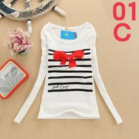 2014 New Free Shipping Hot sale Women cotton t-Shirt Tops type T-shirts long Sleeve Women's t Shirts