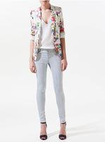 Brand Famous Floral Print Women Blzaer Long Sleeve One Button blaser feminino