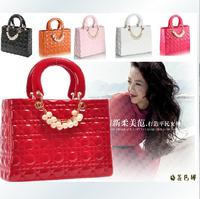 2014 New Brand Design Wristlets Women Handbags Candy Color Messenger Pearl Le boy Plaid Bags Square Tote PU Packet Women Bags