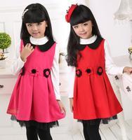 Free Shipping Winter Fall Girls vest dress Kids Girl flower dresses  Baby Sleeveless Lace dress