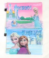 Hot Sell 12pcs/lot A5 Frozen Princess Anna Elsa PVC zipper Pencil File Bag Kids Gift Stationary Pouch Free Shipping