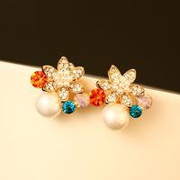 CC Accessories Korea Style Brand 18k Rose Gold Plated Earring Stud Earring Shiny Austrian Crystal Luxury Pearl Earring Girls
