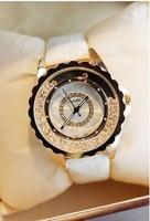 2014 leather strap women dress watches high quality women rhinestone watches lady diamond wristwatch full steel white band