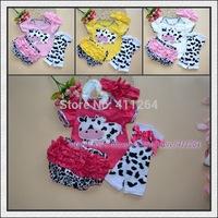 15sets/lot(0-1Y) 4pcs Newborn Infant Clothes Baby Girls Headband+T Shirt + Lace Shorts +Leg Warmer Leggings Bow First walkers