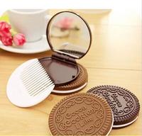 Portable Women Makeup Mirrors Pocket Cosmetic Mirror & Comb Set Free Shipping