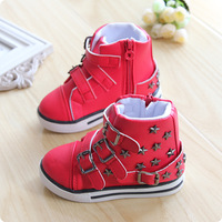 2014 Korean version of the new winter boots girls boots autumn princess single metal buckle boots boots baby shoes, children sho