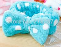 Free Shipping!2014 New Double flannel Headbands Wash headband lovely bow princess makeup hair hoop fleece headband 14 Colors