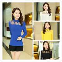 2014 New Fashion Women Winter Cotton Hollow Slim Large Size Women's Tops Sexy Lace Collar Long-Sleeved T-Shirt Women