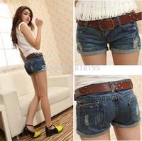 2014 new  women's trousers slim denim shorts hole shorts female straight jeans shots free shipping