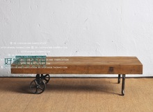 Industrialism loft -style solid wood furniture made of old cast iron wheel cart- old pine coffee table coffee table(China (Mainland))