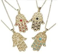 Vintage hamsa hand pendant necklace Simulated gemstone Stylish hamsa necklaces women xmas gifts 12pcs/lot