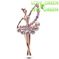 2014 brooch Free Shipping fashion brand wholesales18KGP Austrian Crystal rhinestones dancing girl Brooch Clip pins jewelry 5375