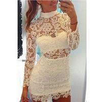 vestidos casual free shipping 2014 women dress openwork hollow lace bandage dress with high collar vestido de festa winter dress