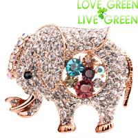 2014 new arrival  fashion brand women accessories elephant design 18KGP austrian crystal rhinestones Clip jewelry 5380