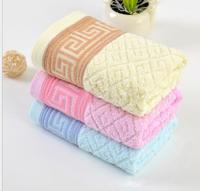 New Towel 100% Cotton 33 * 73cm Solid Plaid Dyed Jacquard Design Family Face Towels Hair Towel Washclothes 2pcs / lot