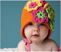 Autumn Winter Children Handmade Manual Baby Hat Crochet Hats Girls Flower Knitted Hats Beanies Caps Infant Baby Photograph Props