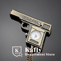Hot selling Cartoon pistol pocket watch retro pocket watch sweater chain