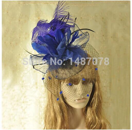 handmade party fascinators Hat purple Wedding Bridal Fascinator with feather romantic wedding accessories birdcage veil(China (Mainland))